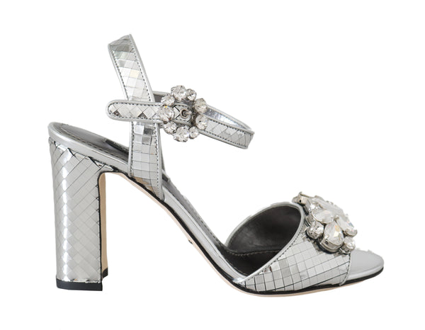 Silver Mirrored Crystal Leather Sandals