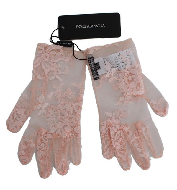 Pink Floral Lace Wrist Long Womens Gloves