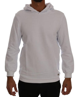 White Pullover Hooded Cotton Sweatshirt Sweater