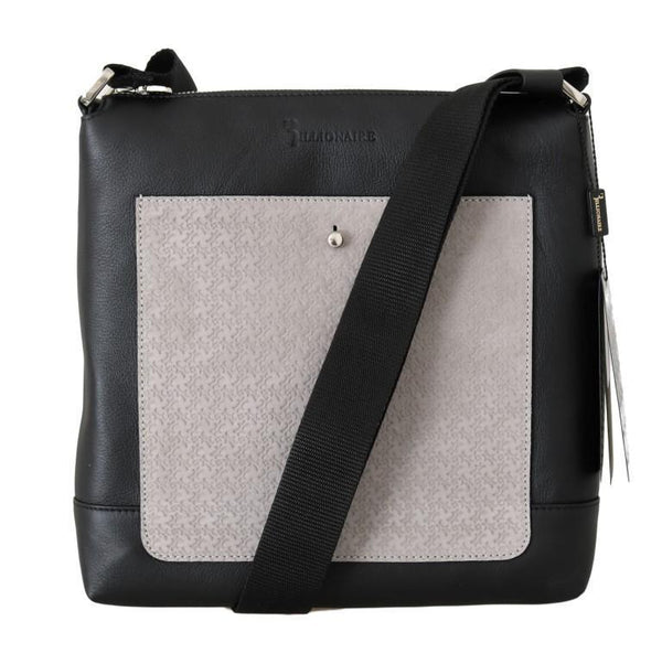 Black Gray Leather Messenger Shoulder Bag