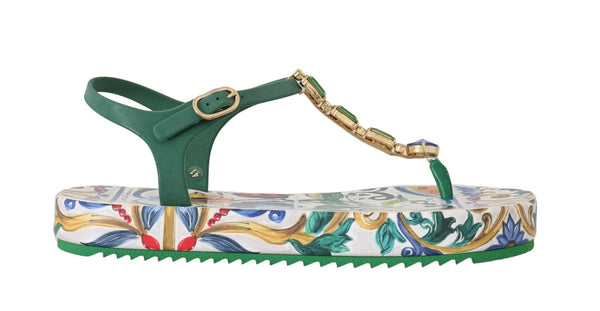 Majolica Crystal Green Sandals