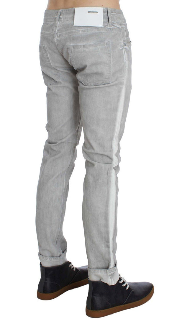 Gray Wash Cotton Stretch Slim Skinny Fit Jeans