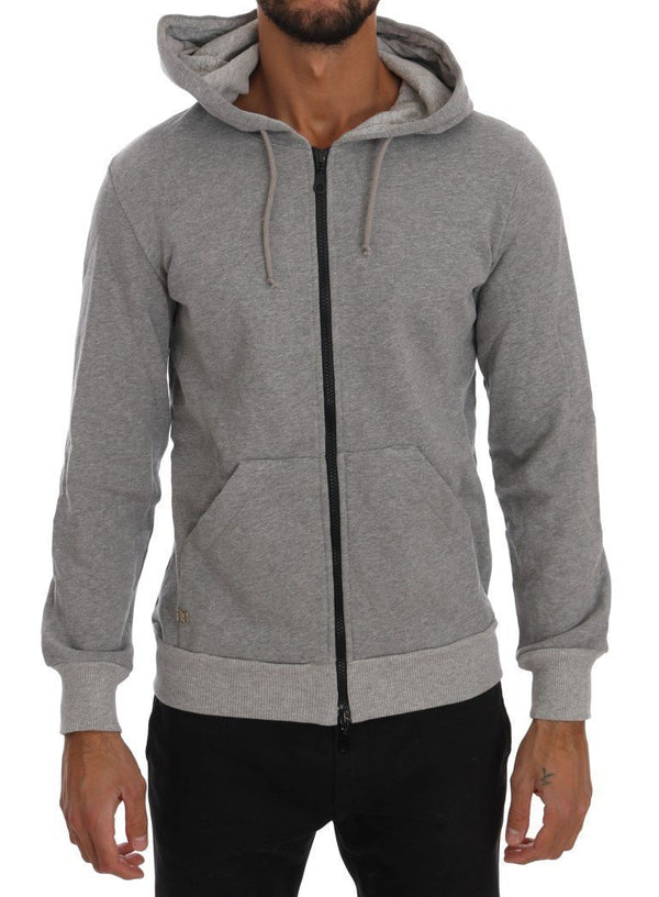 Gray Full Zipper Hodded Cotton Sweater