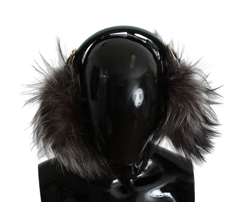 Gray Fox Fur Green Snakeskin Ear Muffs