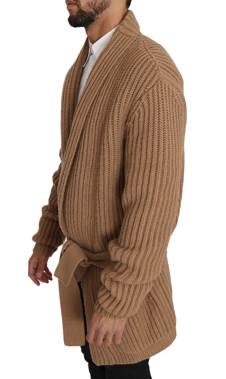 Beige Knitted Camel Wrap Sweater
