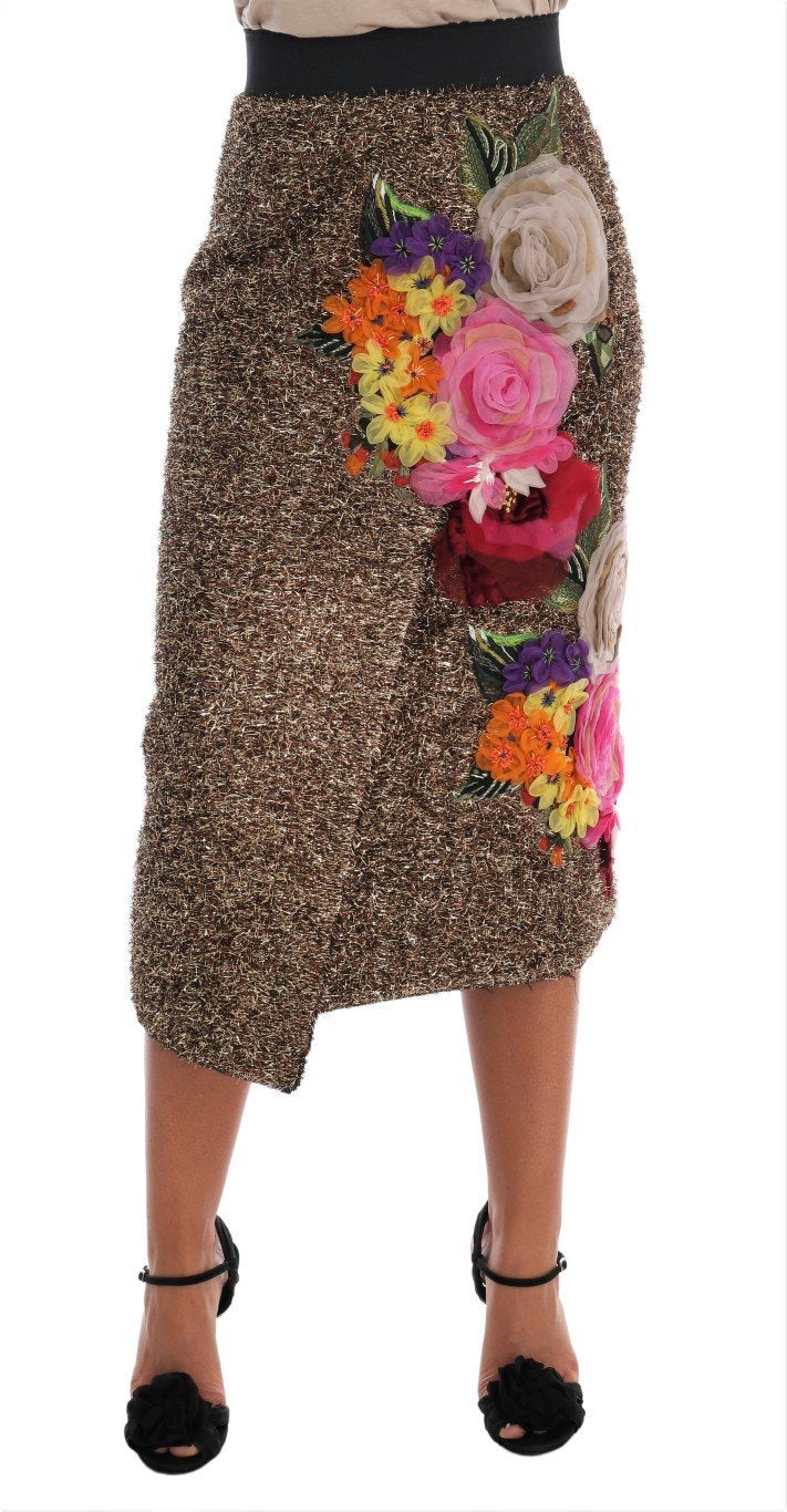 Gold Floral Silk Below Knee Shift Skirt