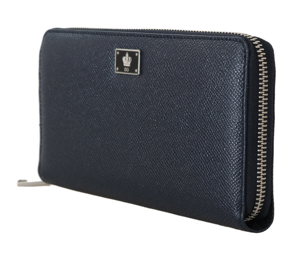 Blue Leather Dauphine Continental Mens Zipper Wallet