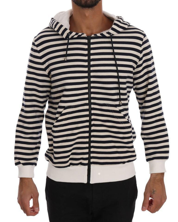 Blue White Striped Hooded Cotton Sweater