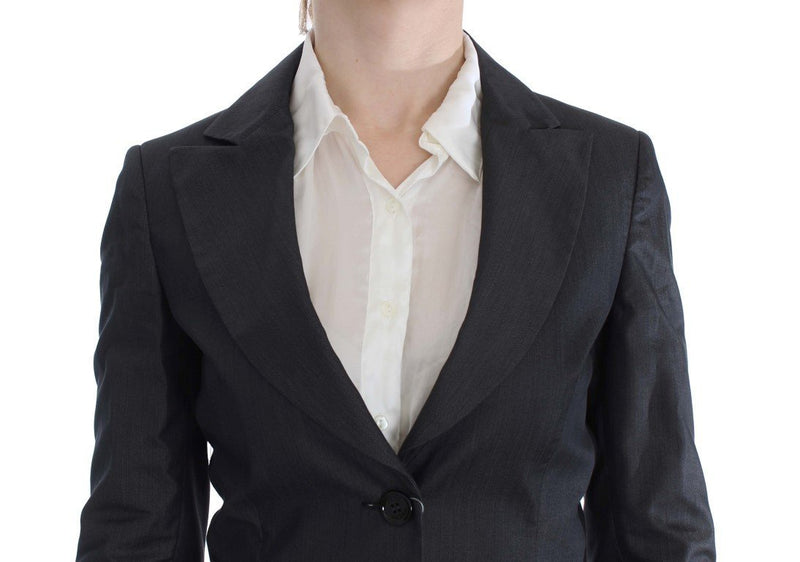Gray One Button Two Piece Suit