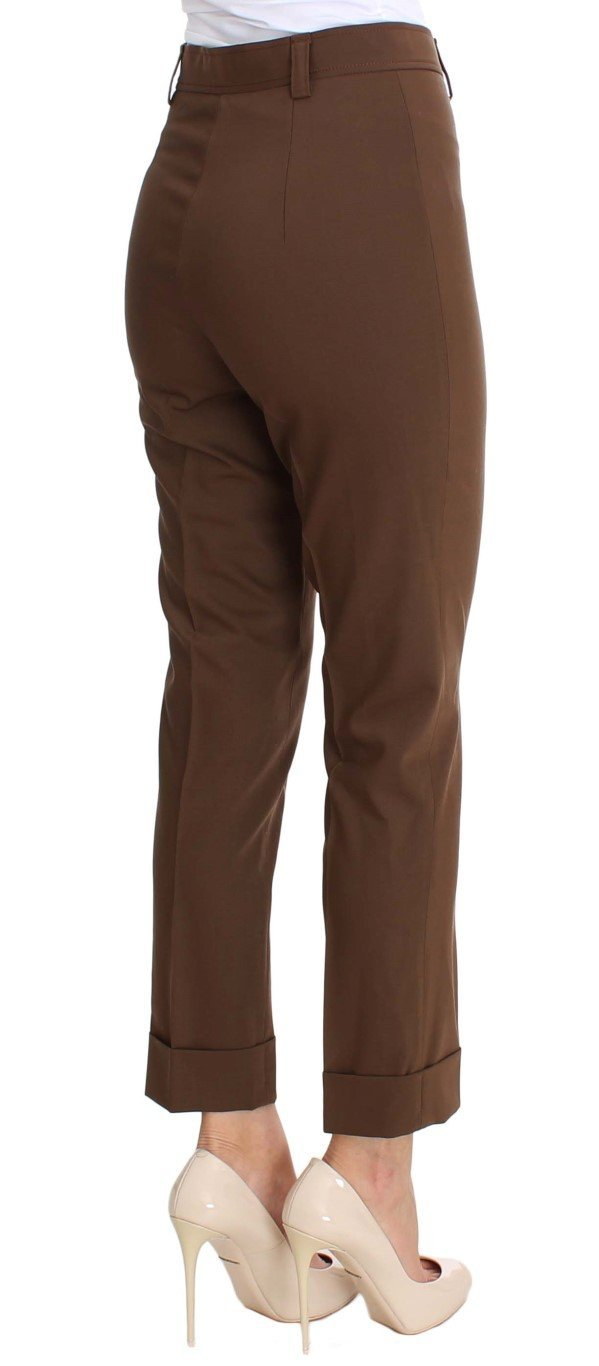 Brown Wool Stretch Cropped Pants