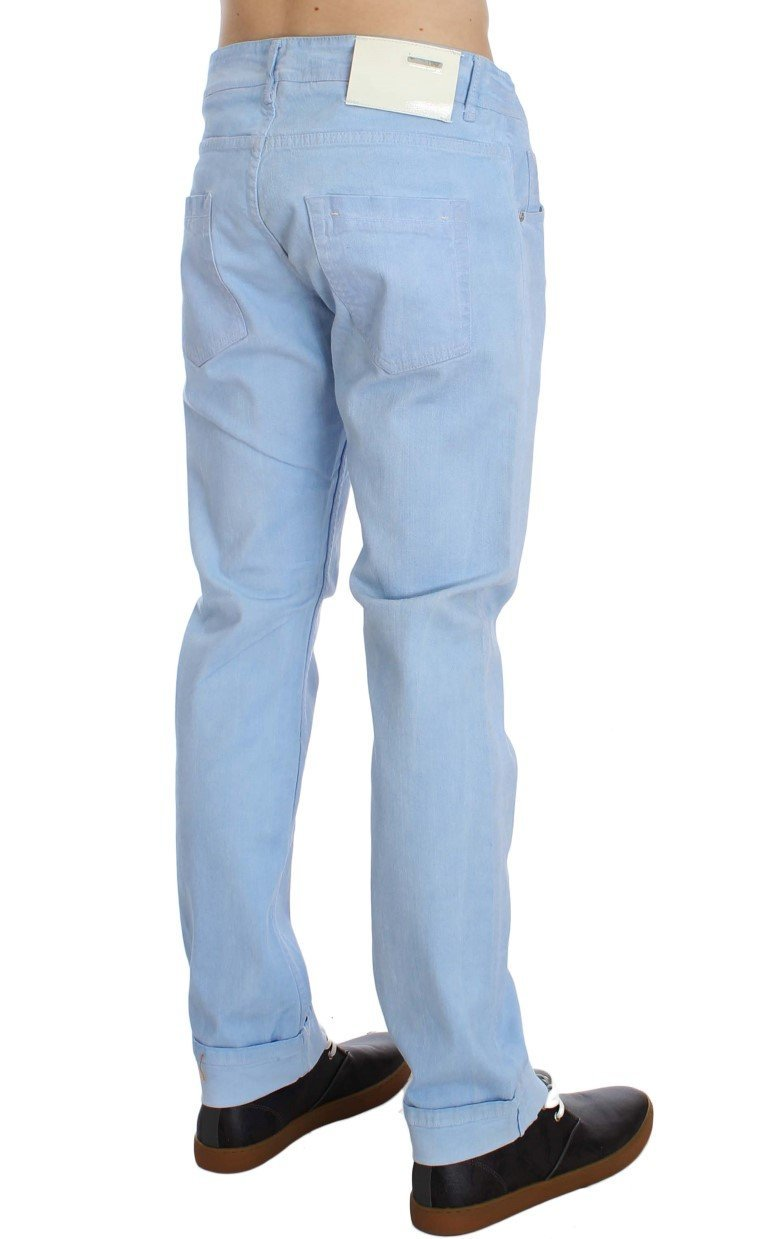 Blue Cotton Stretch Low Waist Fit Jeans