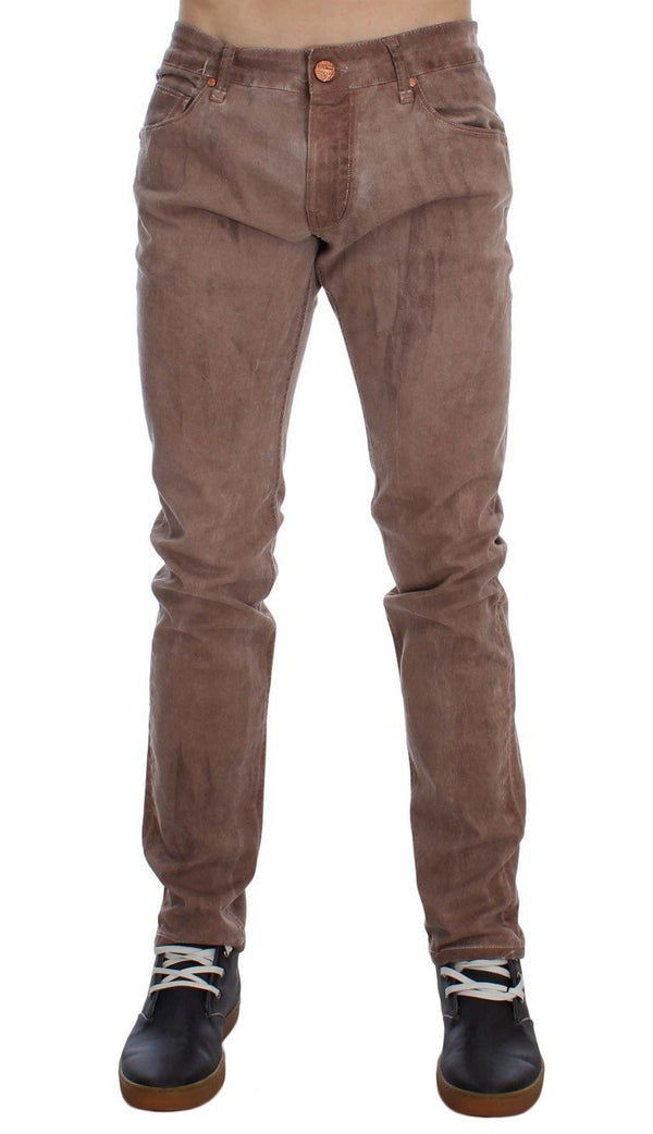 Pink Wash Cotton Stretch Slim Fit Jeans