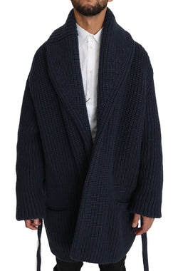 Blue Knitted Cashmere Wrap Cardigan Sweater