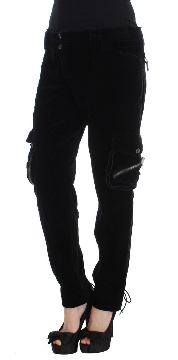 Black Cotton Blend Loose Fit Cargo Pants