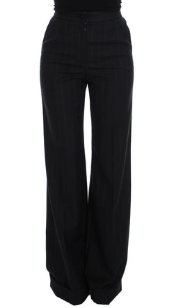 Gray Striped Wool High Waist Pants
