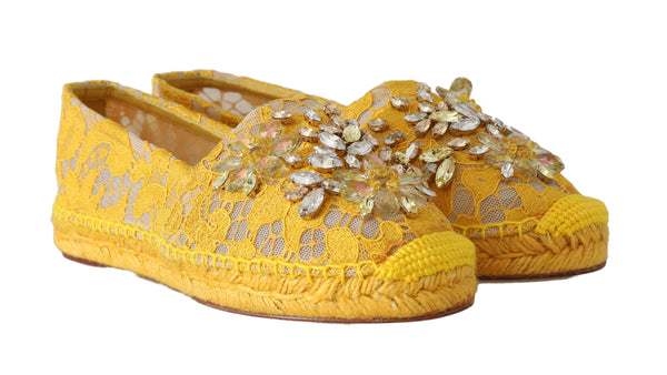 Yellow Lace Leather Crystal Espadrille