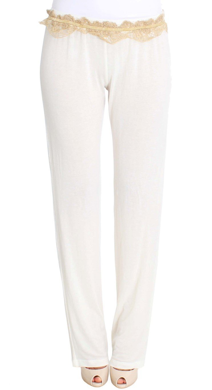 White Lace Detailed Casual Pants