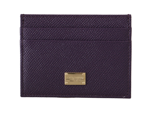 Purple Dauphine Leather Cardholder Case  Wallet