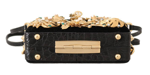 Black Velvet Gold Caiman Crystal Clutch Purse