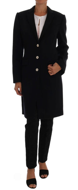 Dark Blue Wool Single Breasted Coat