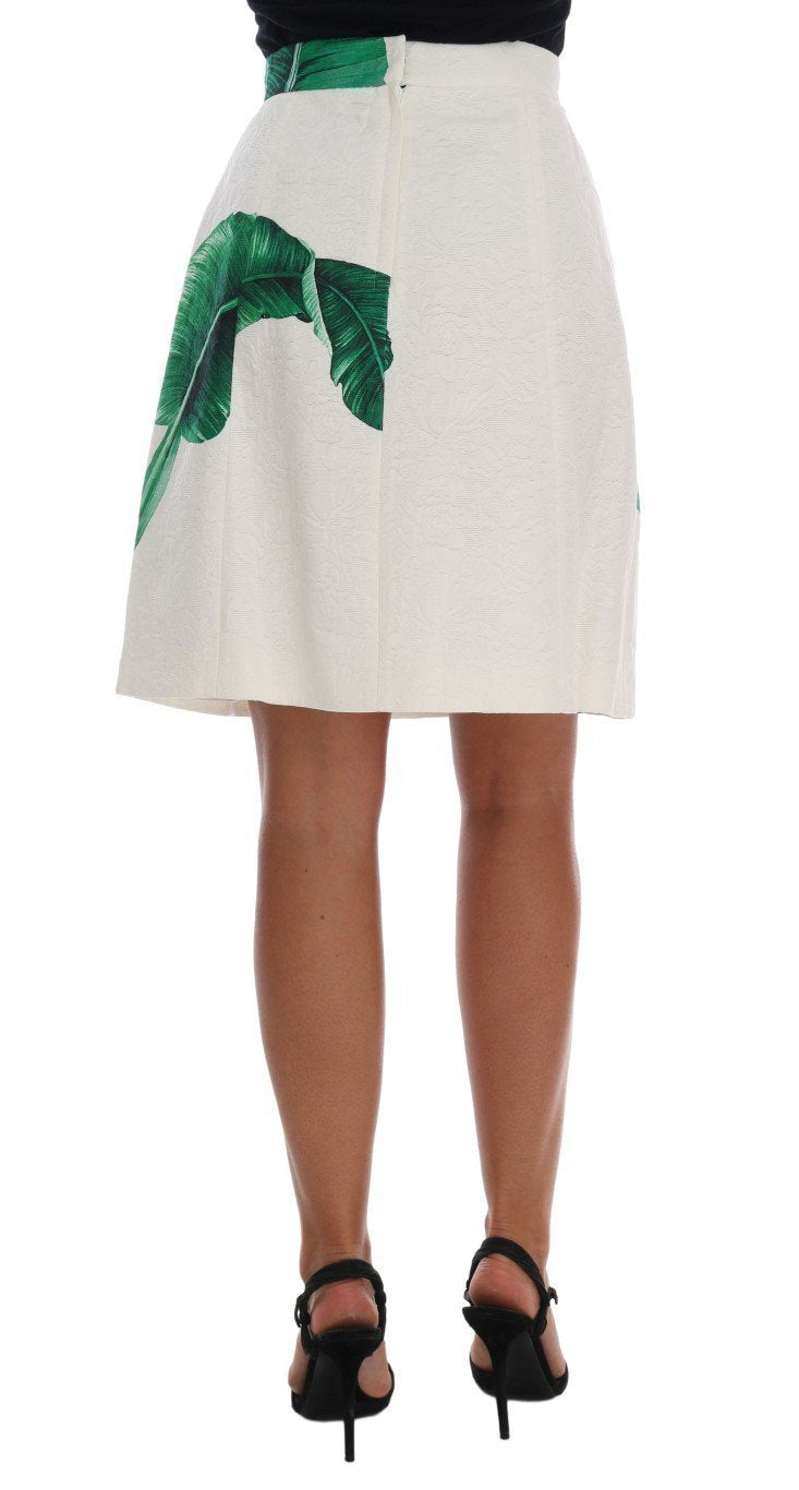 Green Banana Leaf Brocade Cotton Silk Skirt