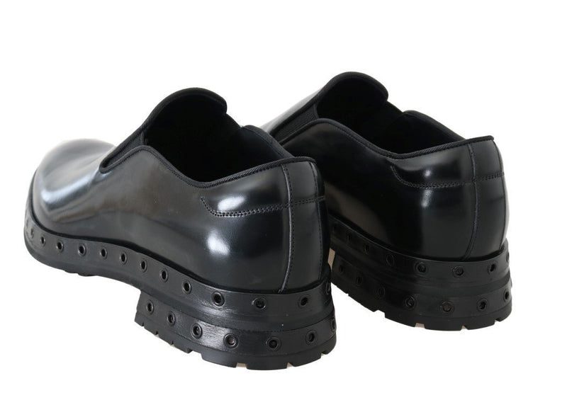 Black Leather Dress Loafers Shoes