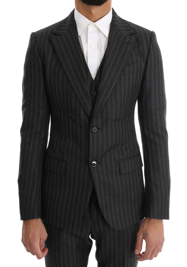 Gray Striped Two Button 3 Piece Suit