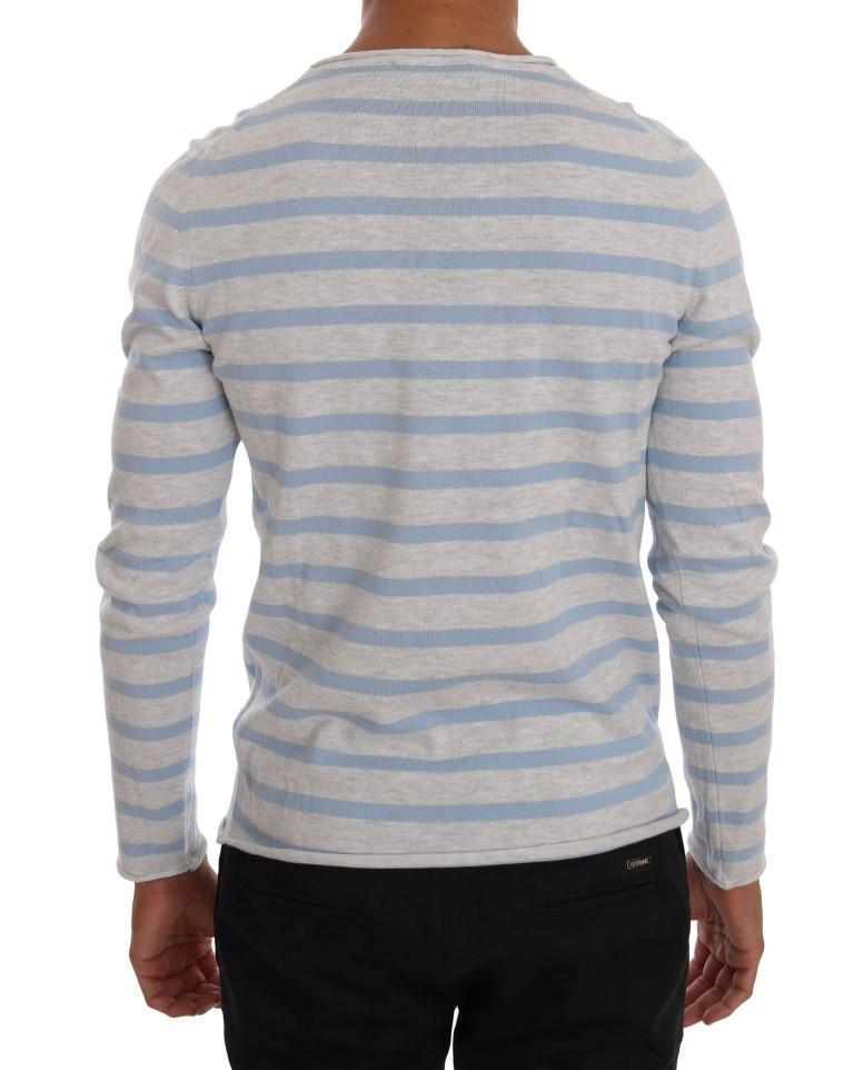 Blue Gray V-neck Cotton Pullover Sweater