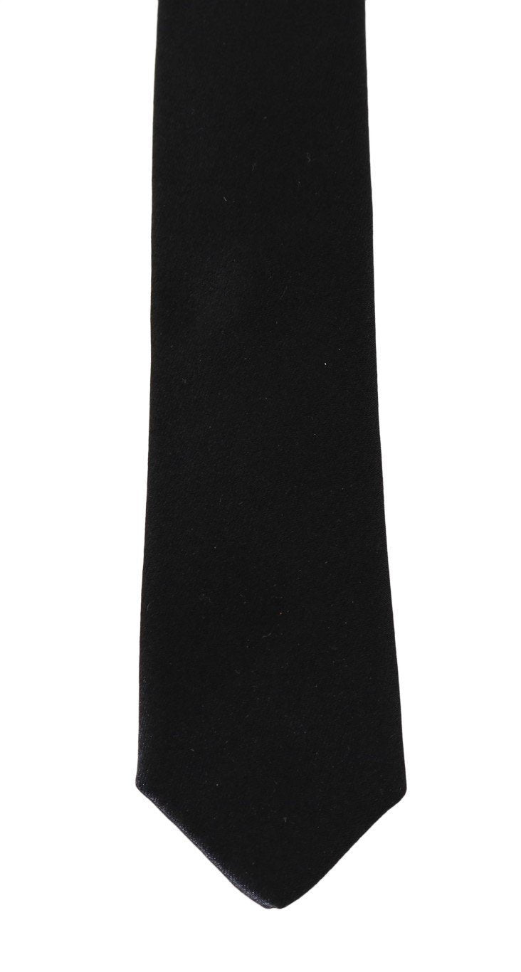 Black Silk Solid Skinny Slim Tie