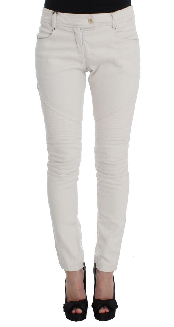 Beige Cotton Slim Fit Denim Jeans
