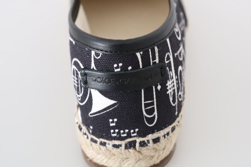 Black Trumpet Canvas Leather Espadrilles Shoes