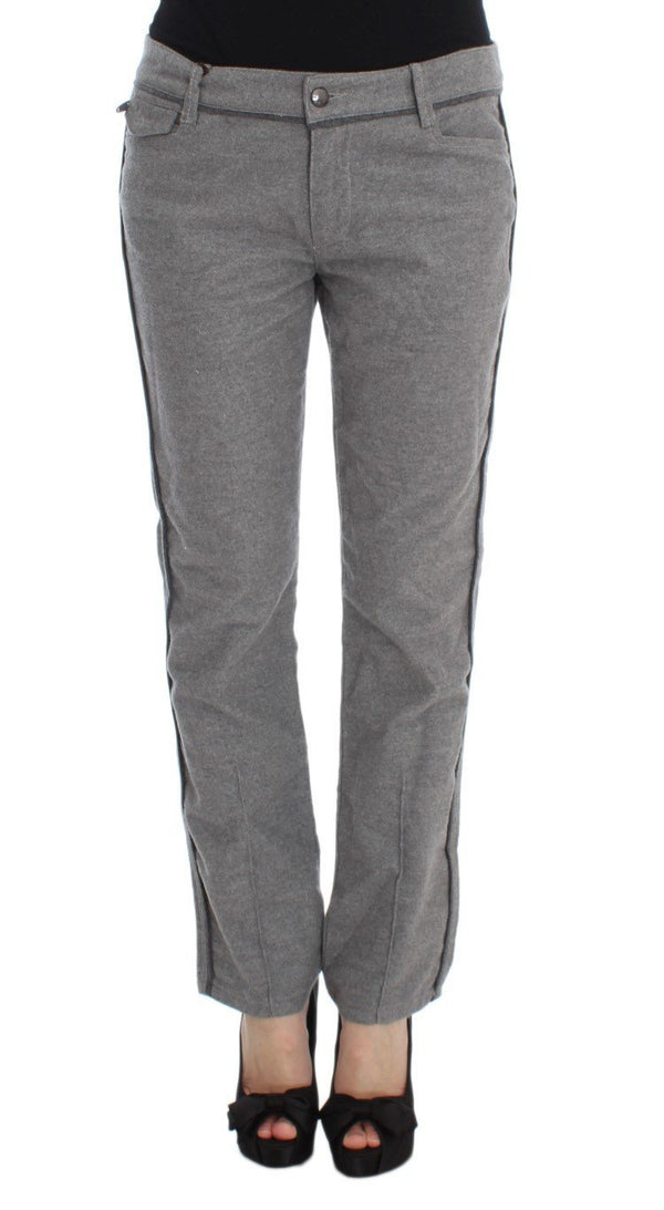 Gray Cotton Straight Fit Casual Pants