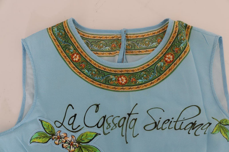 Blue Sicily Print Silk Blouse