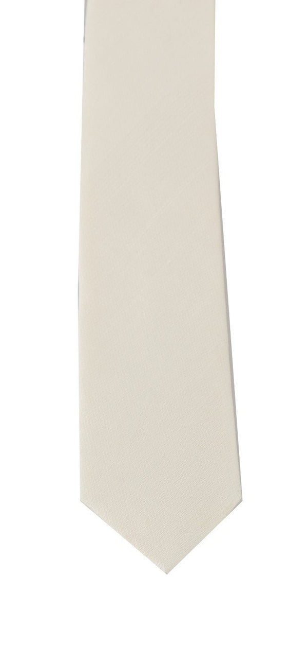 White Silk Solid Slim Tie