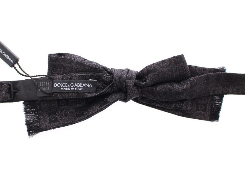 Black Silk Baroque Paisley Untied Bow Tie