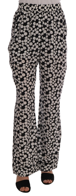 Black White Polka Dottes Silk Pants