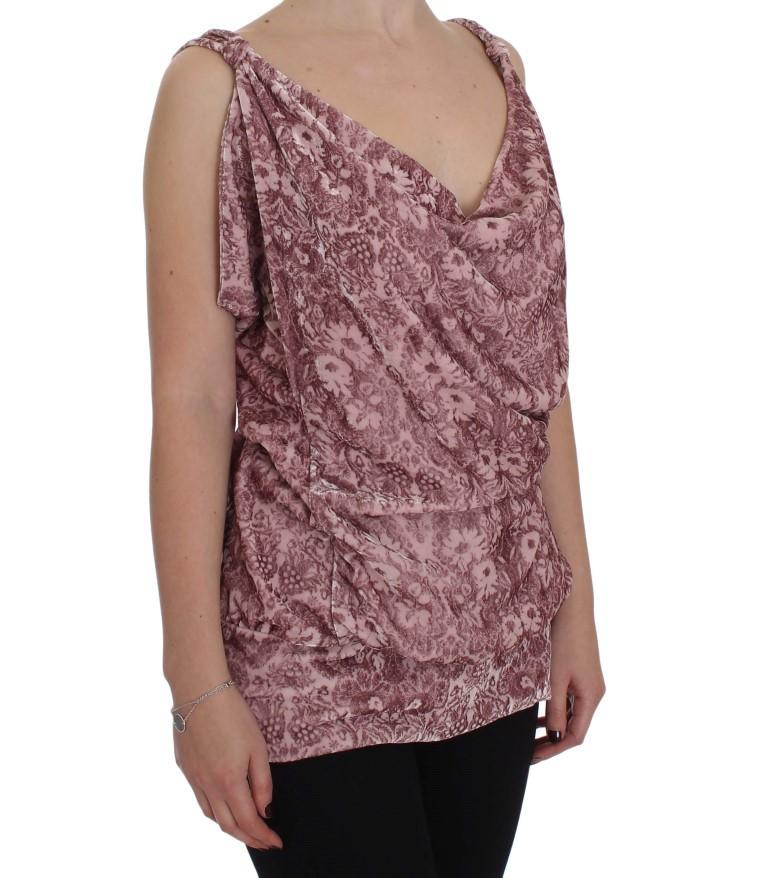Pink Floral Print Viscose Silk Blouse Top
