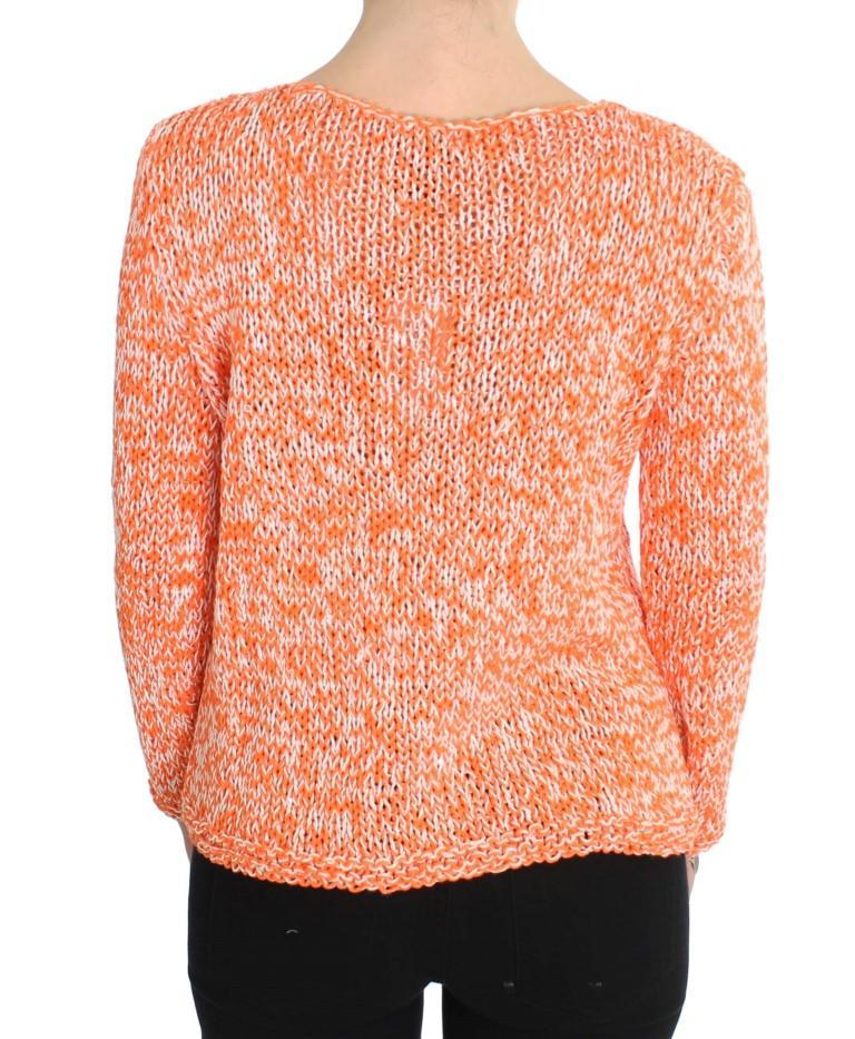 Orange Cotton Blend Knitted Pullover Sweater