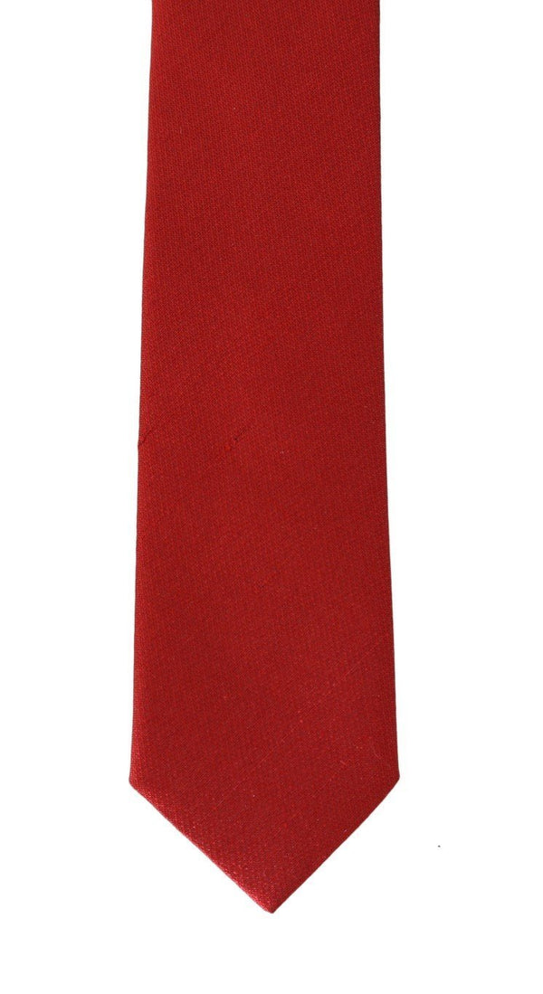 Red Silk Solid Slim Tie