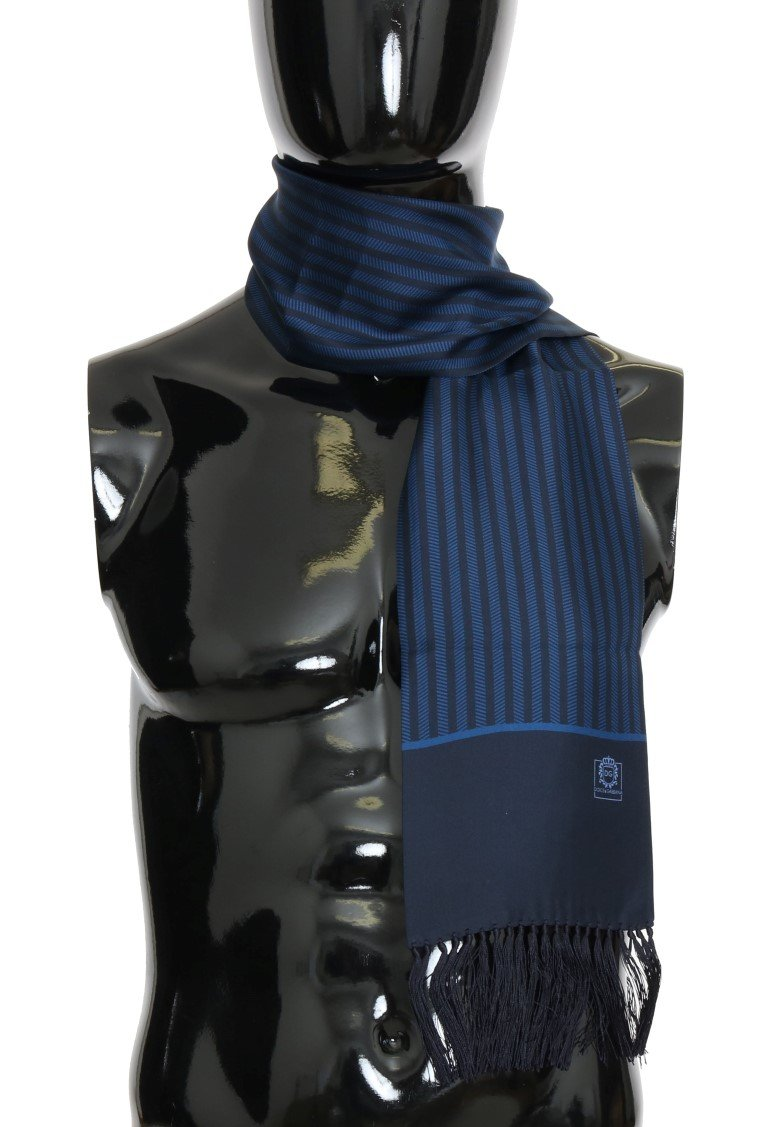 Blue Silk Striped Pattern Scarf