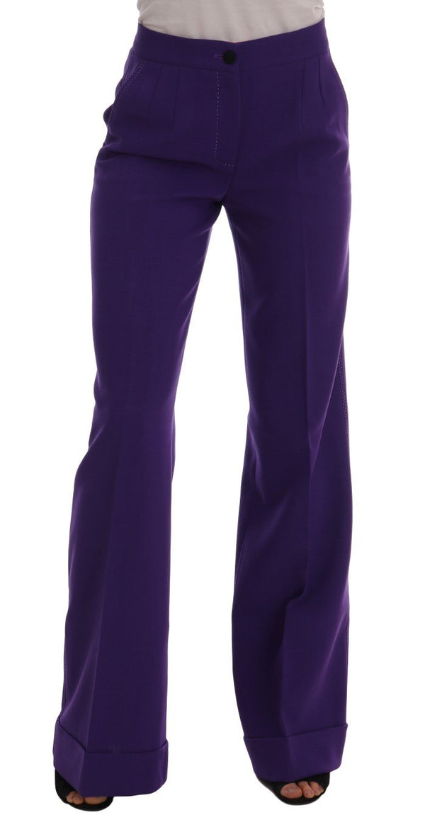 Purple Wool Flare Pants