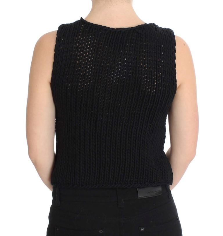 Blue Cotton Knitted Sleeveless Sweater