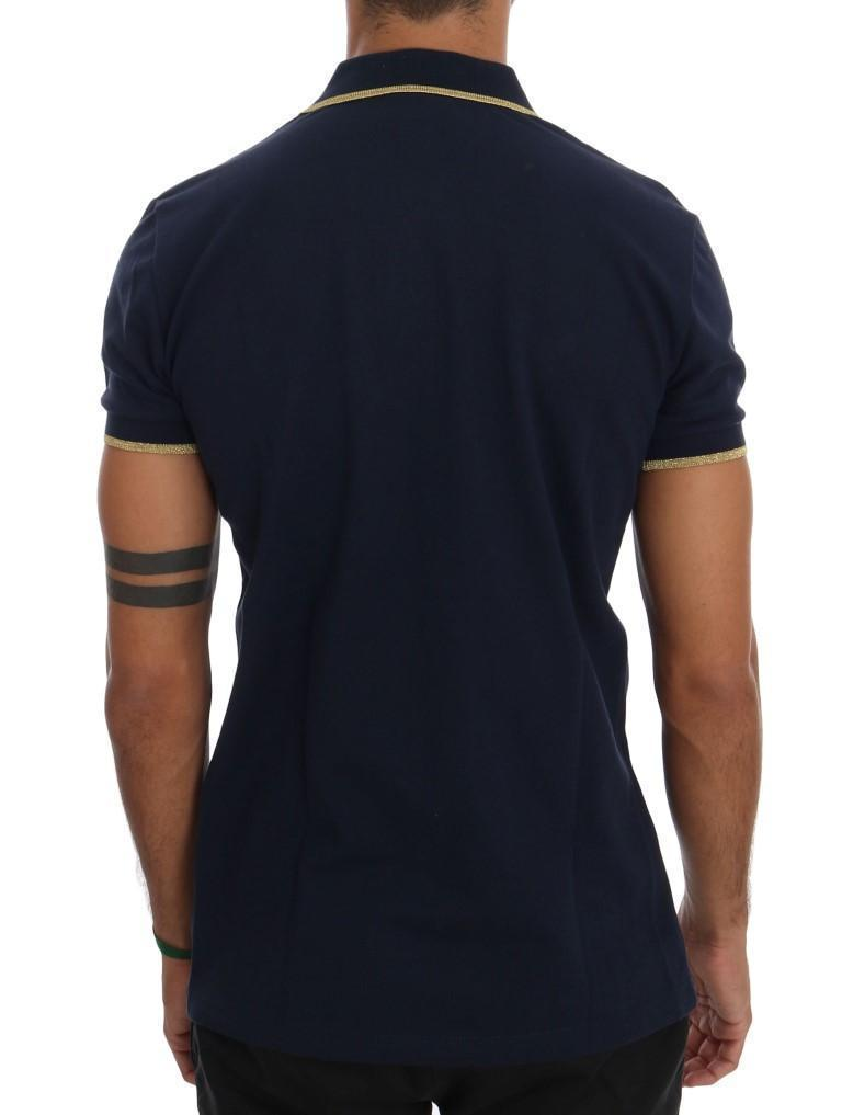 Blue Cotton Short Sleeve Polo T-shirt