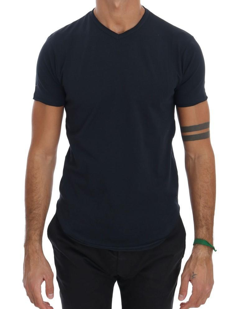 Blue Cotton Stretch V-neck T-shirt