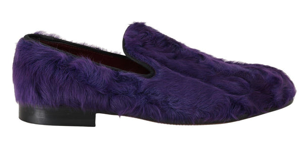 Purple Sheep Fur Leather Loafers