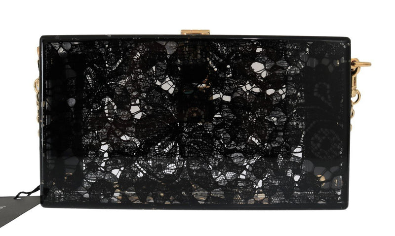 Black Taormina Lace Crystal Clutch Bag