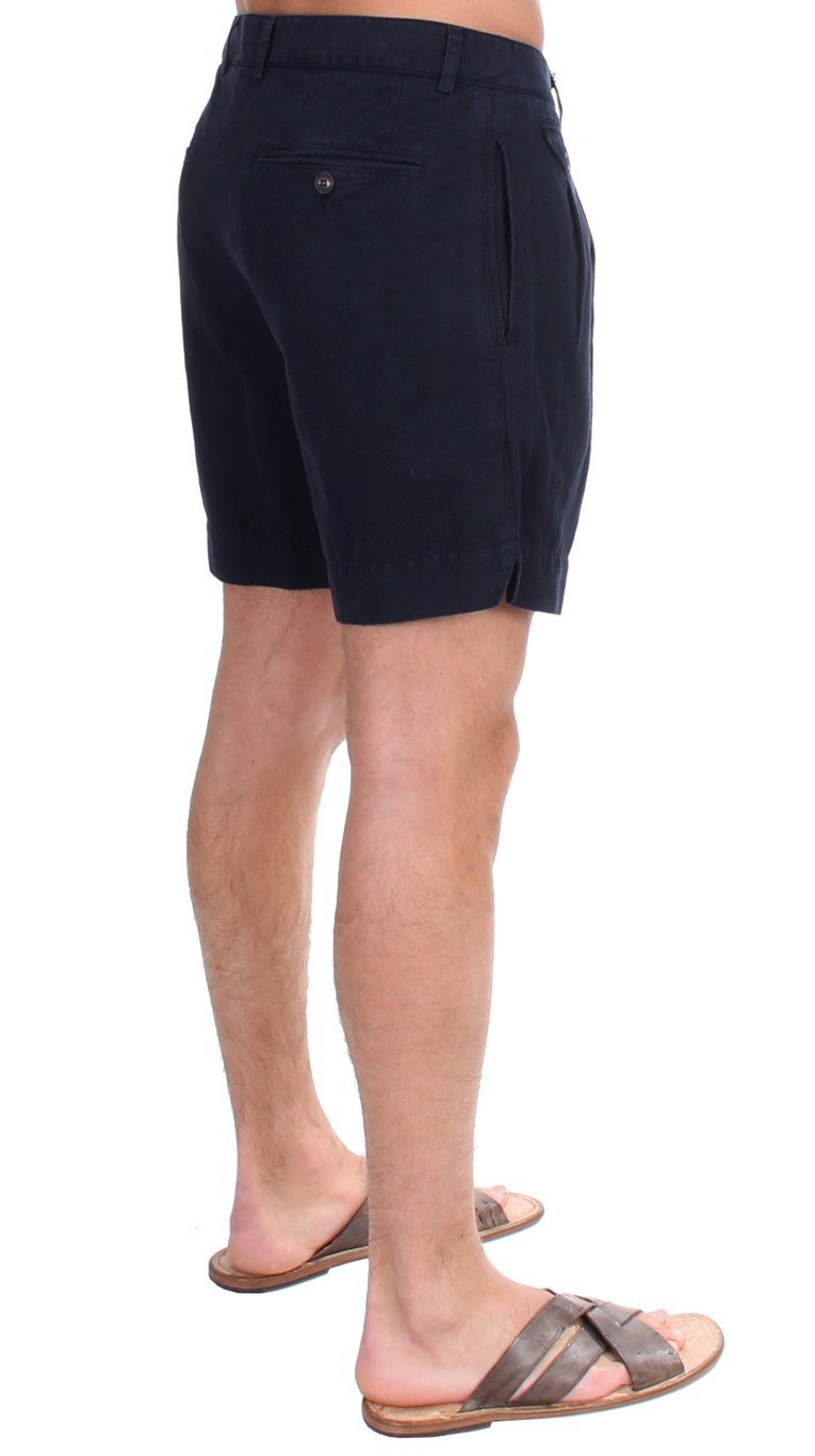 Blue Cotton Above Knees Dress Shorts