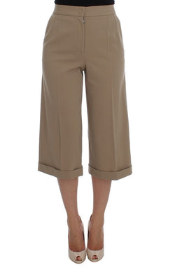 Beige Wool Stretch Capri Pants