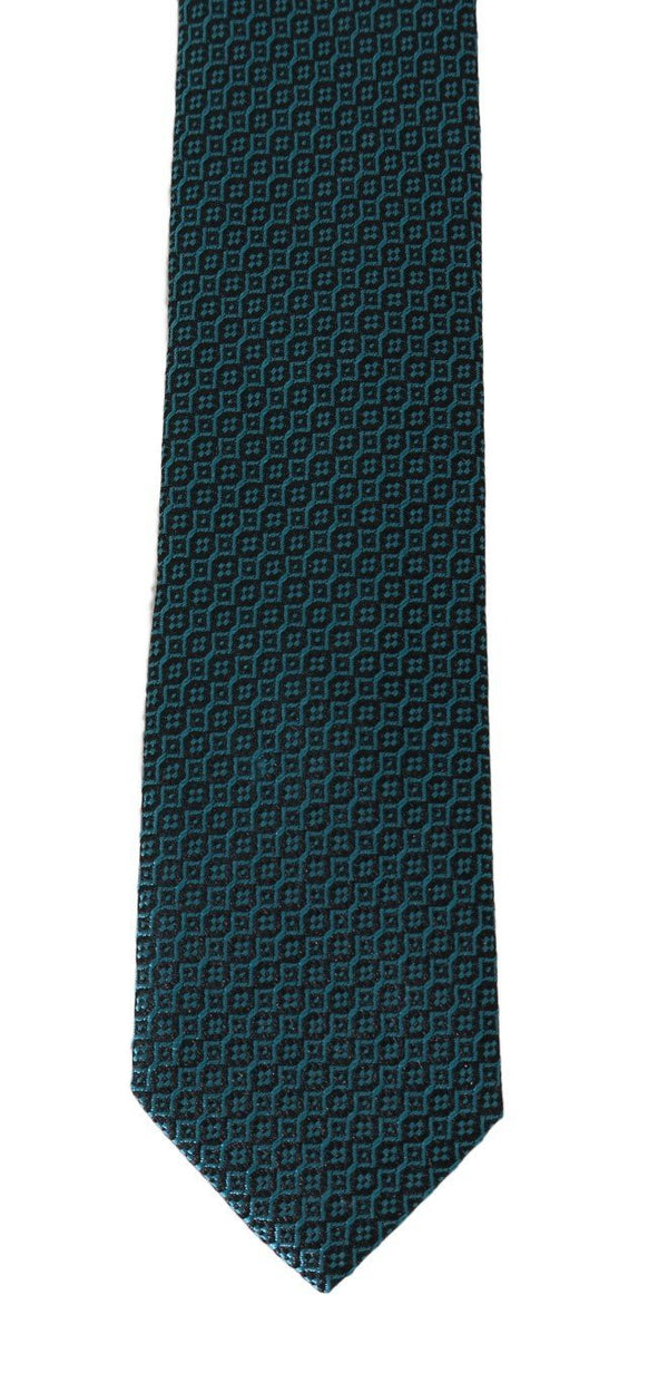 Black Aquamarine Silk Slim Tie