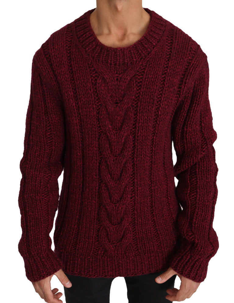 Red Knitted Wool Crewneck Pullover Sweater